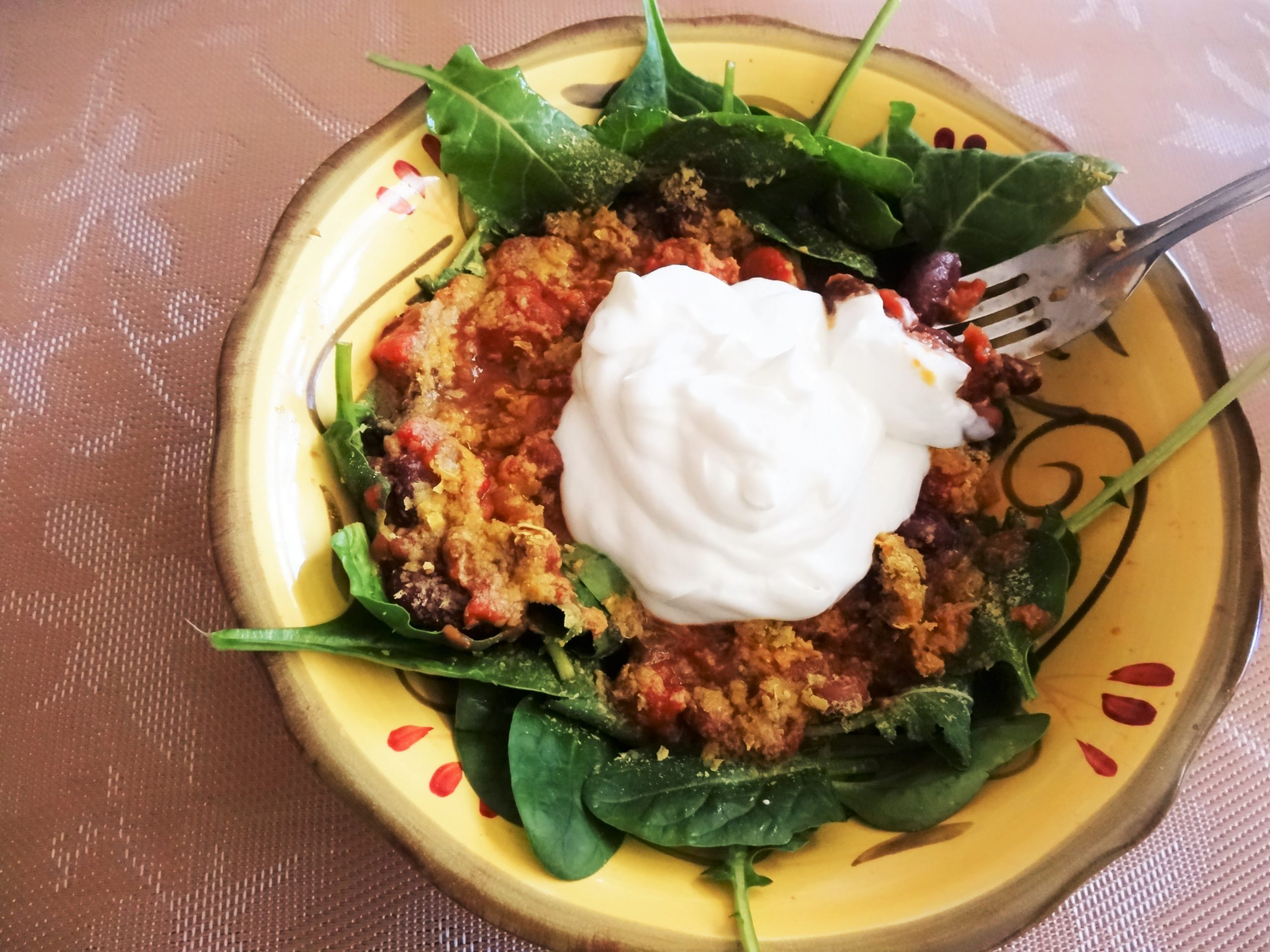 Easy Chili Salad with Greek Yogurt and Nutritional Yeast