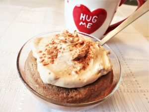 Cinnamon Roll Cake for One with a Hug Me Mug