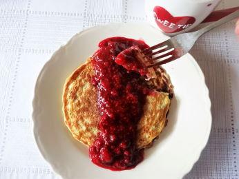 Me Oatmeal Pancakes w Raspberry Syrup