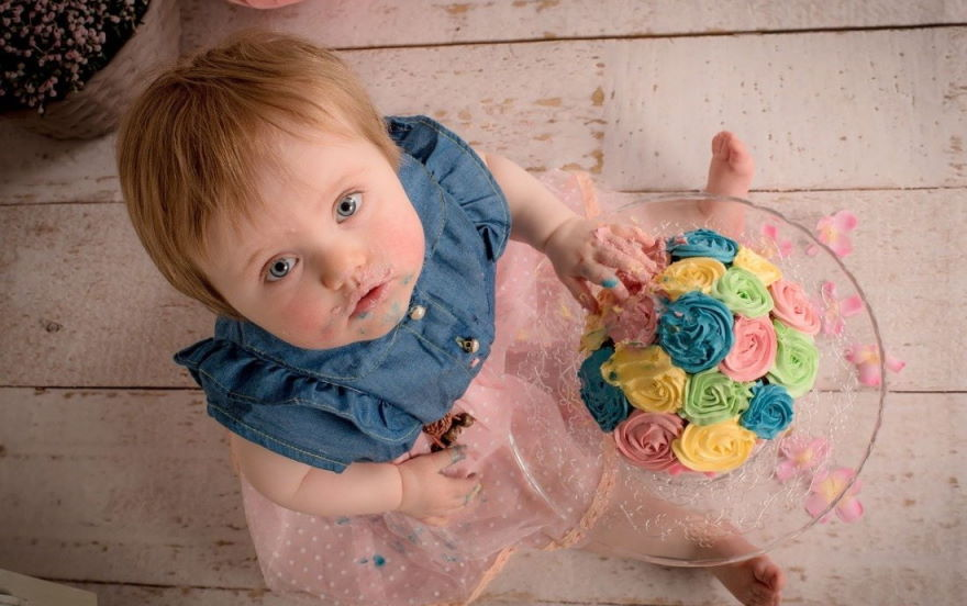 Balanced Eating: Girl Thinking About Eating a Cake