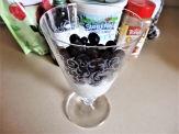 Sundae glass with yogurt and blueberries