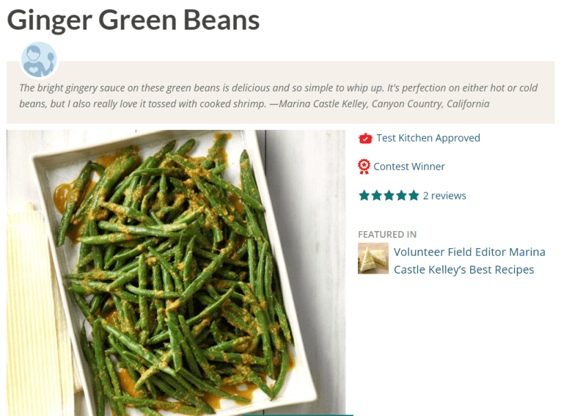 Ginger Green Beans - Healthy Low Fat Side Dish