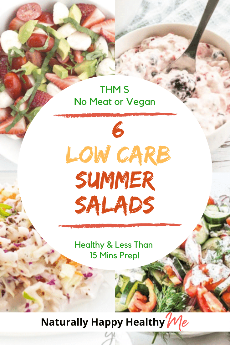 All these easy low carb salads are also good for keto, THM S, prepped in 15 minutes or less, healthy, and meat free. Yummy, let's eat!